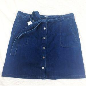 A New Day   Denim Button Up Skirt